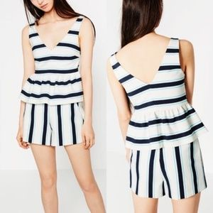 Zara Striped Peplum Top V Neck Low Back